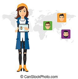 Woman holding tablet computer with social media source. - A...