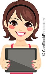 Woman Holding Tablet - Young happy smiling woman showing...