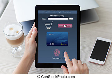 woman holding tablet PC computer with online shopping touch pay