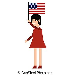 Woman holding the united states flag