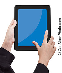 Woman holding Touchpad PC (Tablet PC)