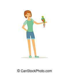 Woman holding tropical bird with colored feathers on her hand. Smiling female character and macaw parrot. Pet and friendship. Domestic animal. Flat vector design