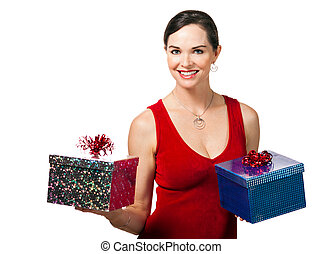 Woman holding two Christmas presents