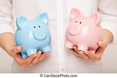 Woman Holding Two Coin Banks - Two Coin Banks in my Hands