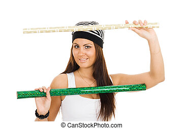 Woman holding two roll of wrapping paper