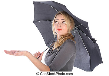 Woman Holding Umbrella Looking Up