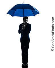 woman holding umbrella pouting silhouette
