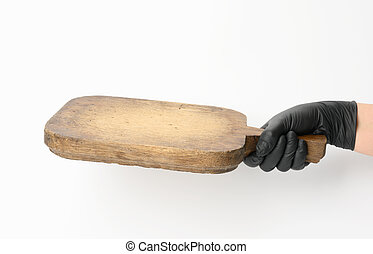 woman holding very old empty brown rectangular wooden board in hand