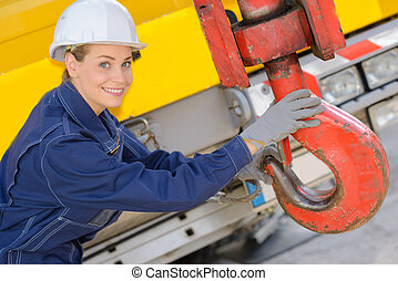 Woman holding winch