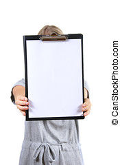 Woman holds a blank clipboard