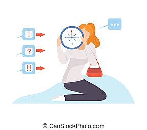 Woman holds a clock with 8 hands in front of her. Vector illustration.