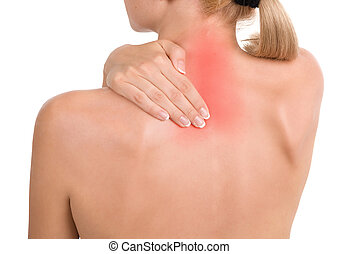 Woman holds a hand on pain neck. Backache