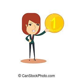 Woman holds in his hand a gold coin . vector illustration.