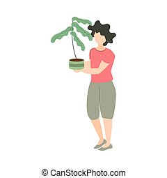 woman holds plant in pot gardening icon on white background