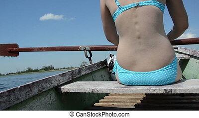 woman holiday boat