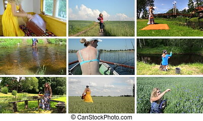 woman holidays collage