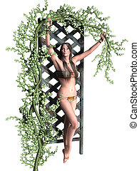 Woman holding a vine next to an arbor
