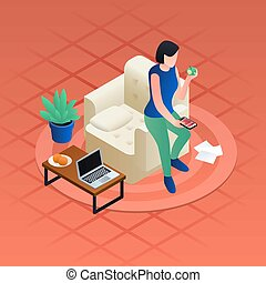 Woman home distant work concept background, isometric style