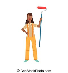 Woman Home Painter With Painting Roll, Part Of Happy People And Their Professions Collection Of Vector Characters