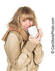woman hot tea