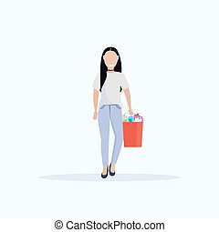 woman housemaid holding bucket with supplies female cleaner janitor cleaning service concept flat full length white background