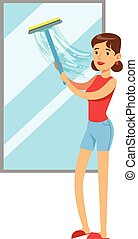 Woman Housewife Cleaning The Window With Squeegee, Classic Household Duty Of Staying-at-home Wife Illustration