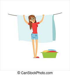Woman Housewife Hanging Wet Laundry On The String Outdoors, Classic Household Duty Of Staying-at-home Wife Illustration