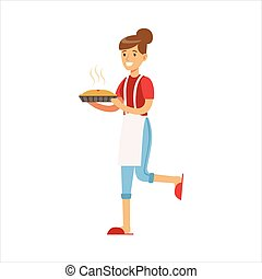 Woman Housewife Holding Freshly Baked Hot Pie, Classic Household Duty Of Staying-at-home Wife Illustration