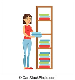 Woman Housewife Ranging Clean Clothes On Shelves, Classic...