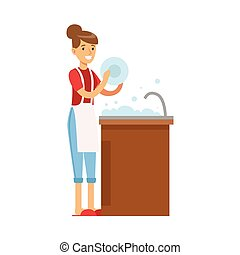 Woman Housewife Washing The Dishes In Kitchen Tap, Classic Household Duty Of Staying-at-home Wife Illustration