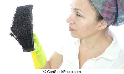 Woman Housework Brush Camera