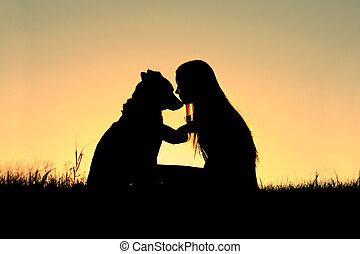 Woman Hugging Dog Silhouette
