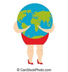 Woman hugging earth planet. World is in female hands. Vector illustration