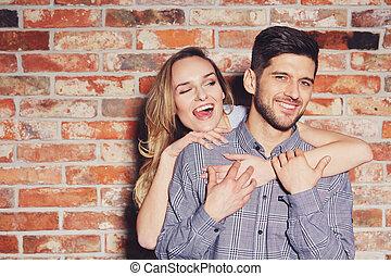 Woman hugging her boyfriend