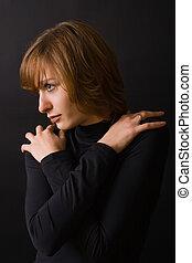 Woman Hugging Herself
