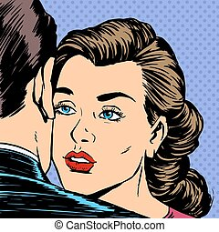 Woman hugging man with the sad face parting love Dating sadness pop art retro style