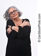 woman hugging on white background