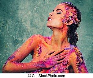 woman hulla, fiatal, művészet, fogalmi, színpompás, gyönyörű