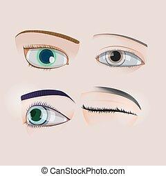 Woman Human Eye Set Collection Vector