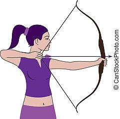 Woman Hunter - woman hunter illustration clip-art vector