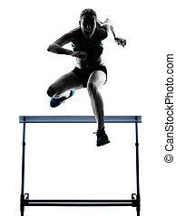 woman hurdlers  hurdling  silhouette