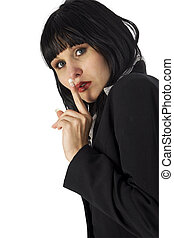 Woman Hushing with Clipping Path