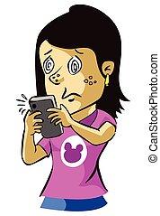 woman hypnotized with phone