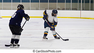 Woman ice hockey player during a game