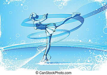 Woman Ice Skater - easy to edit vector illustration of woman...