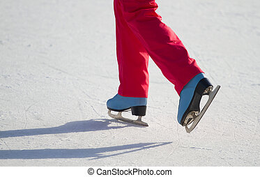 Woman ice skating outdoors - Woman ice skating outdoors