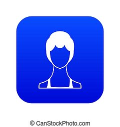 Woman icon digital blue for any design isolated on white ...