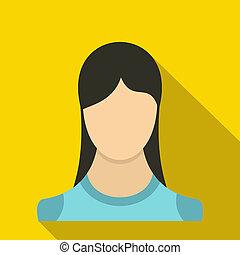 Woman icon, flat style
