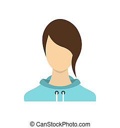 Woman icon in flat style