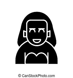Woman icon on white background. Solid illustration of woman avatar profile vector icon for web